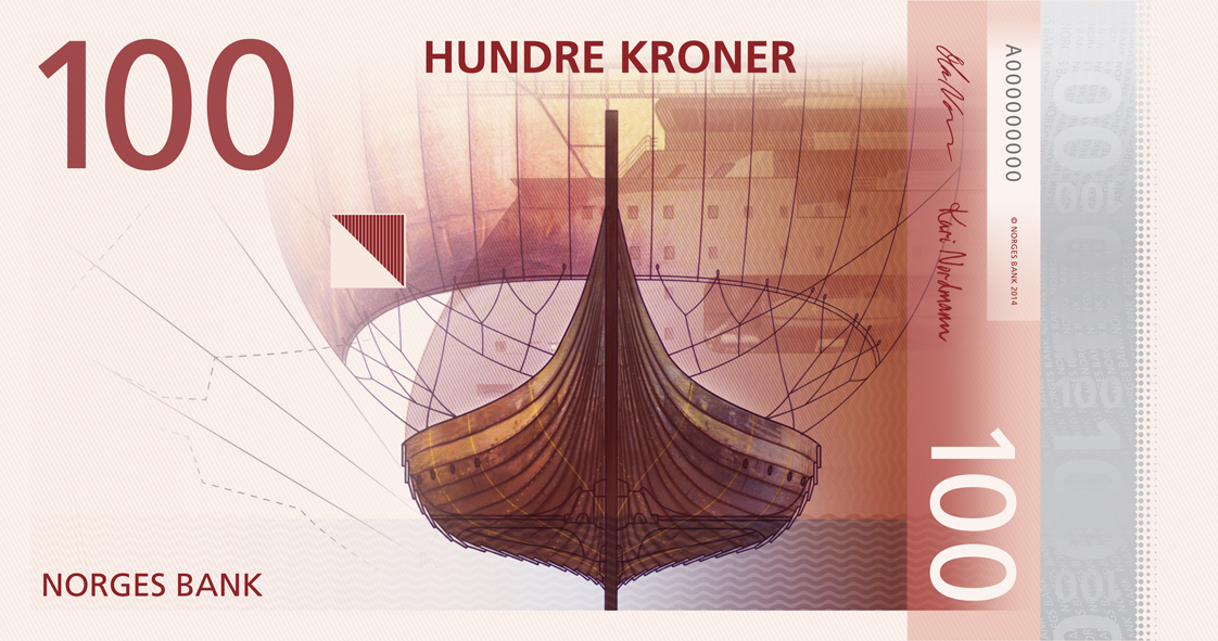 a bank note with a Viking sailing ship on it