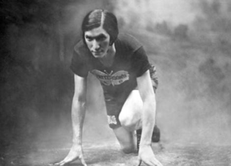 studio portrait of woman track athlete