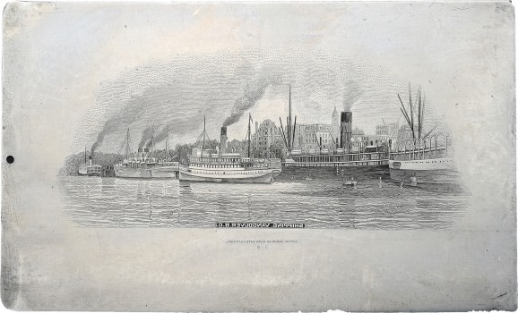 engraving of Vancouver harbour
