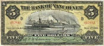 Bank of Vancouver $5 note