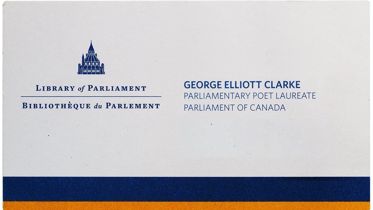George Elliot Clarke's business card
