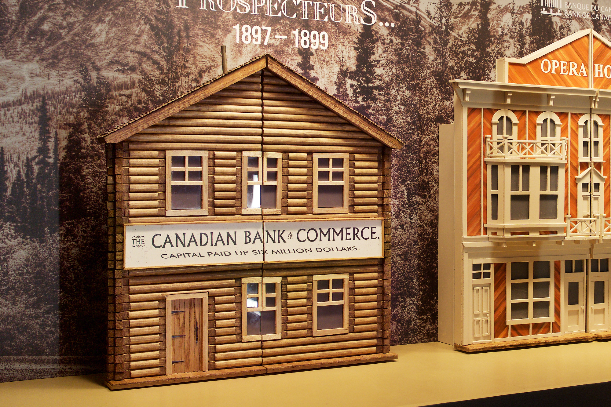 exhibition window with diorama of frontier street