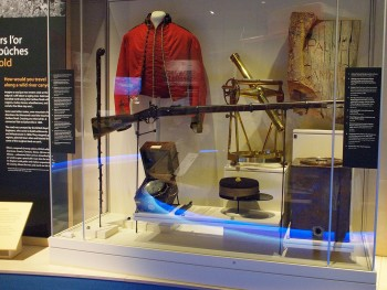 museum case: old military engineering equipment