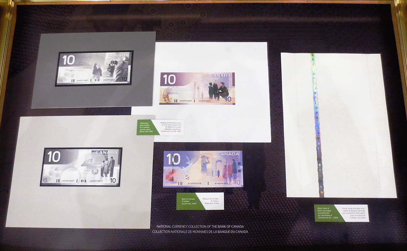 museum case with bank note artifacts