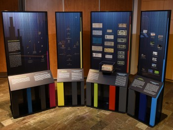 museum display of coins and bank notes