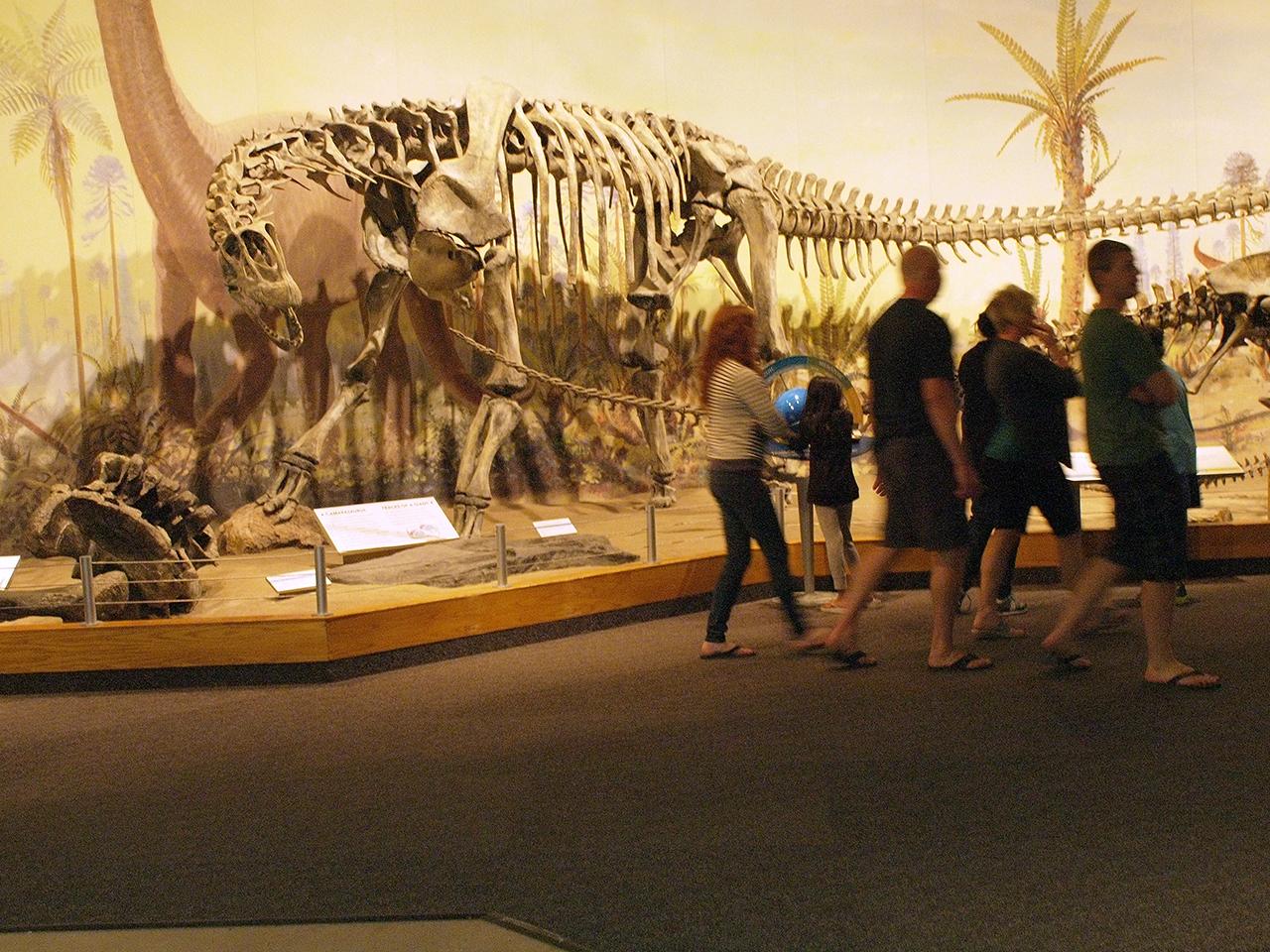 family in front of skeleton