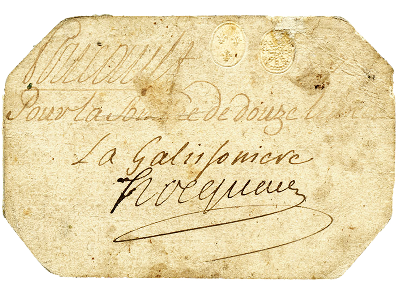 card with old writing