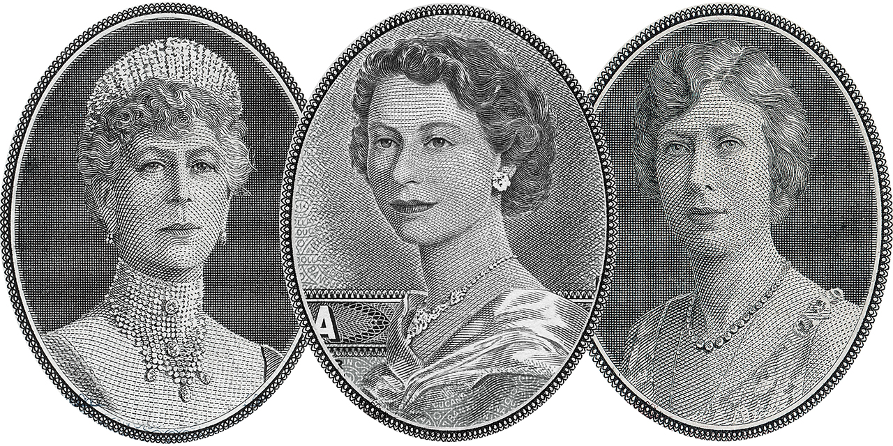 bank note engravings of 3 women