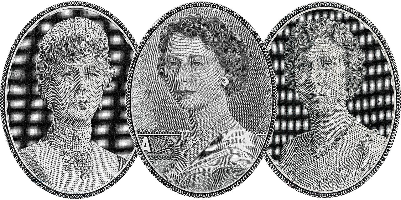 bank note engravings of 3 women
