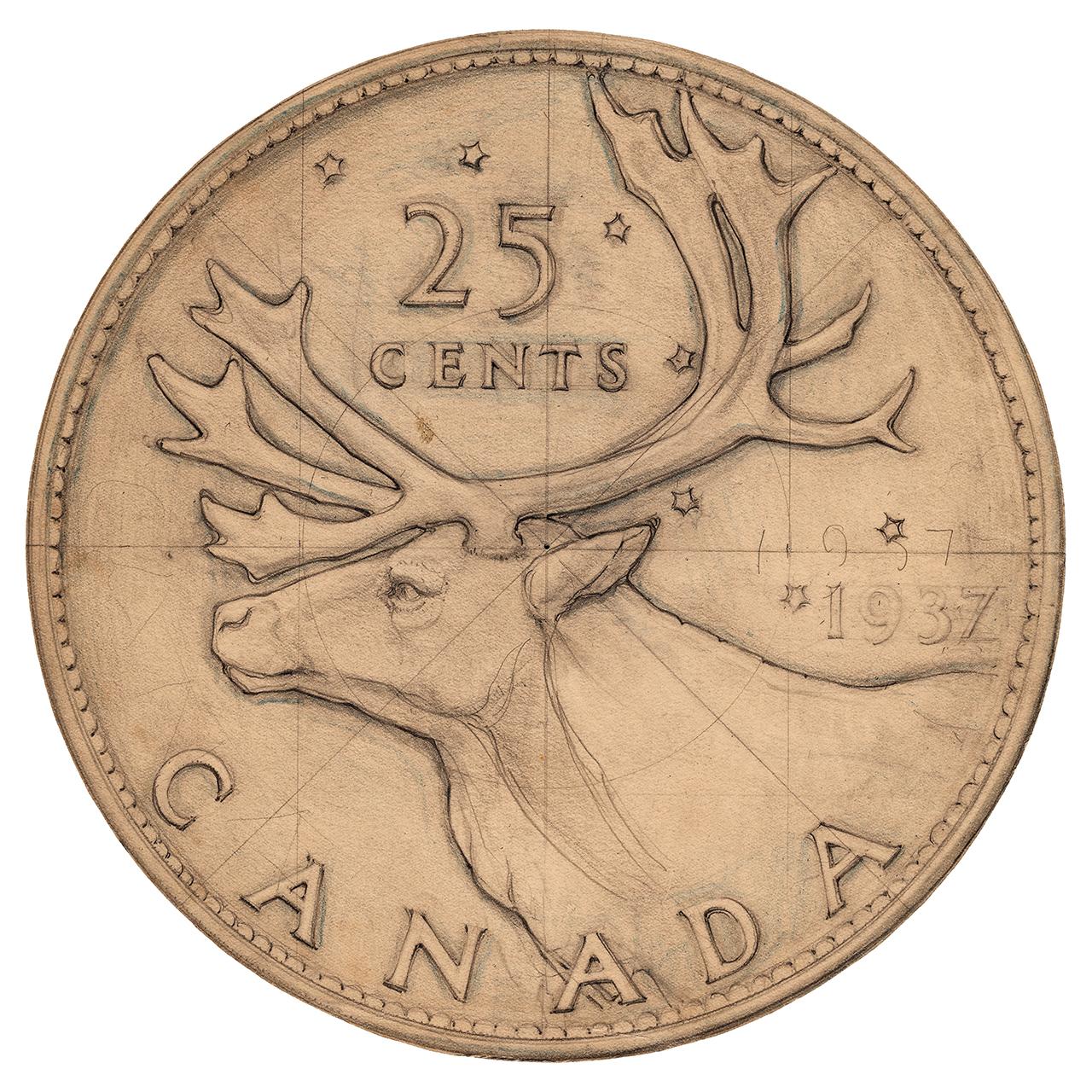 sketch of a coin design