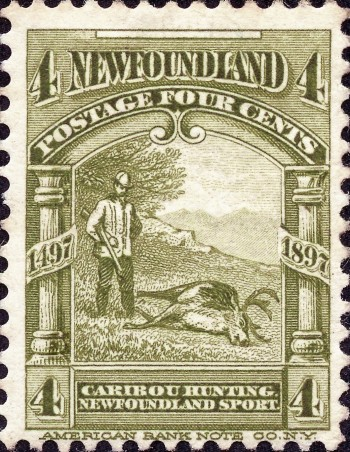 Newfoundland stamp with hunter and caribou