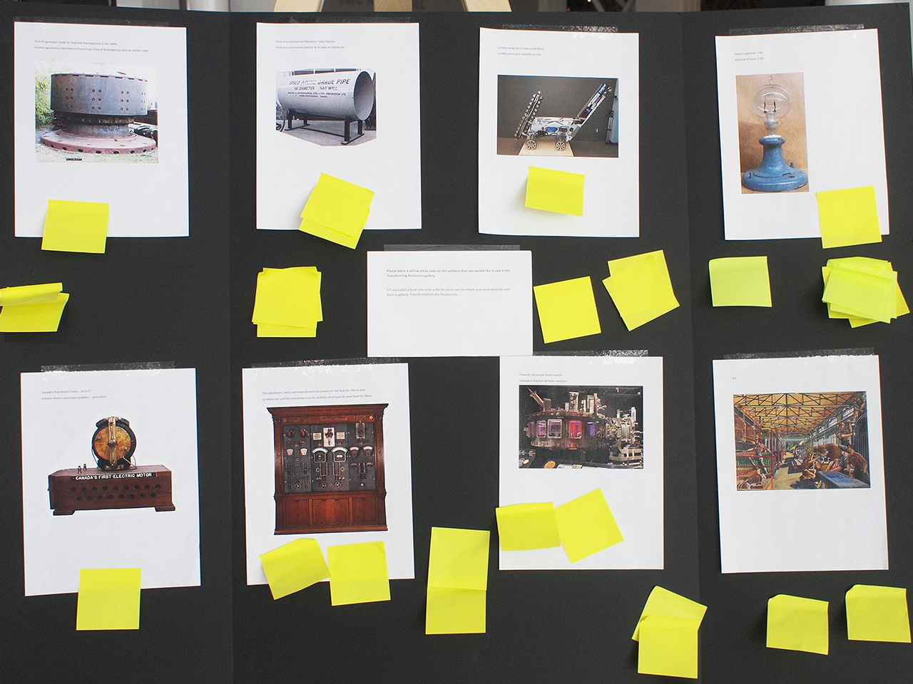 a board of images of large-scale technology artifacts