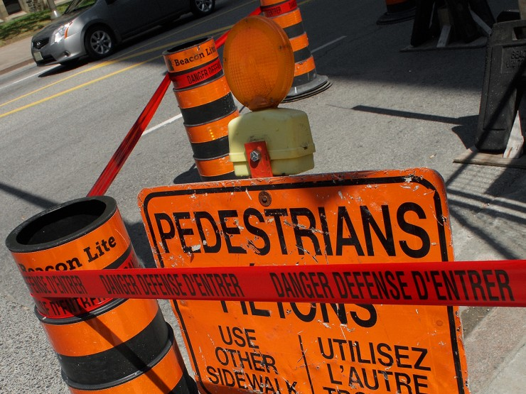 orange construction signs