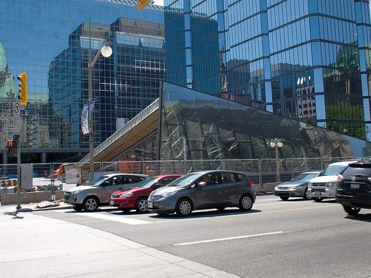 triangular glass building