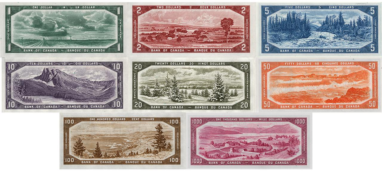 group of old bank notes with landscape images on them