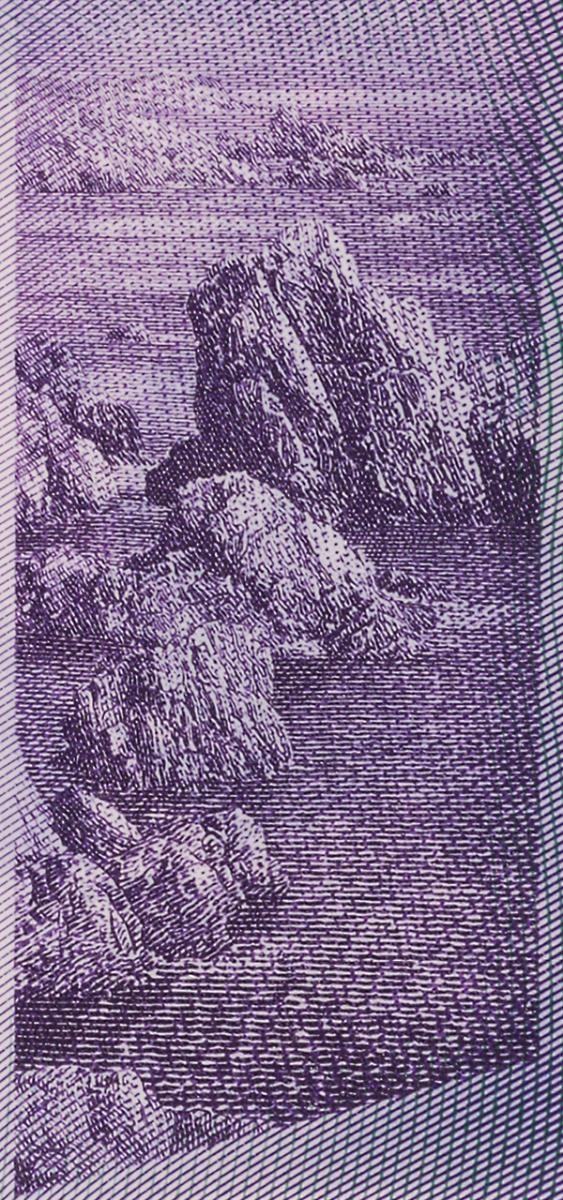 bank note image: rocks and sea