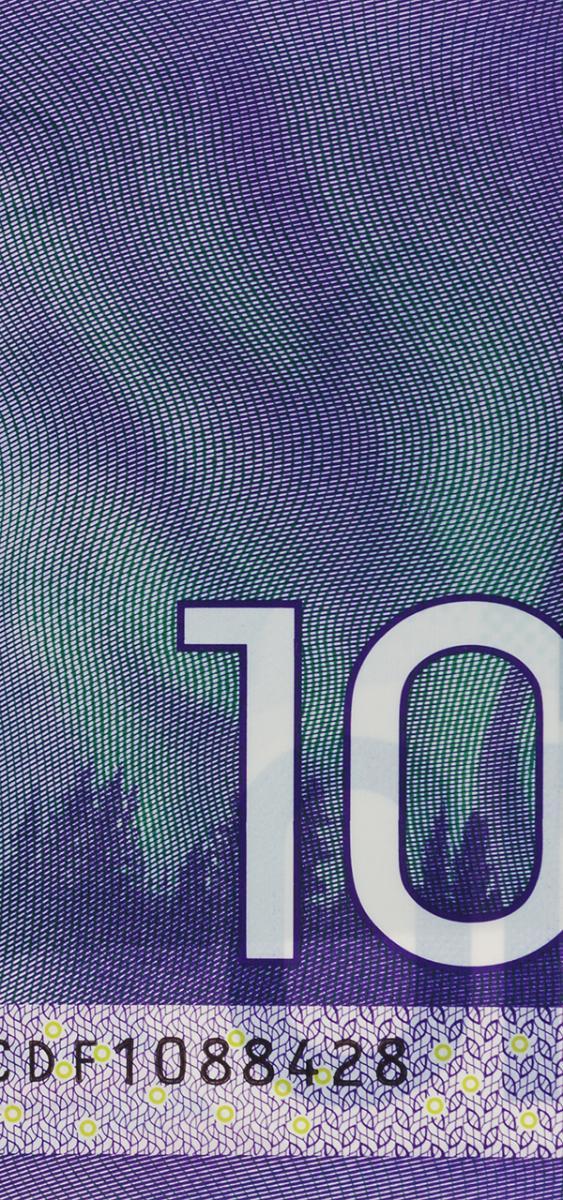 bank note image: northern lights