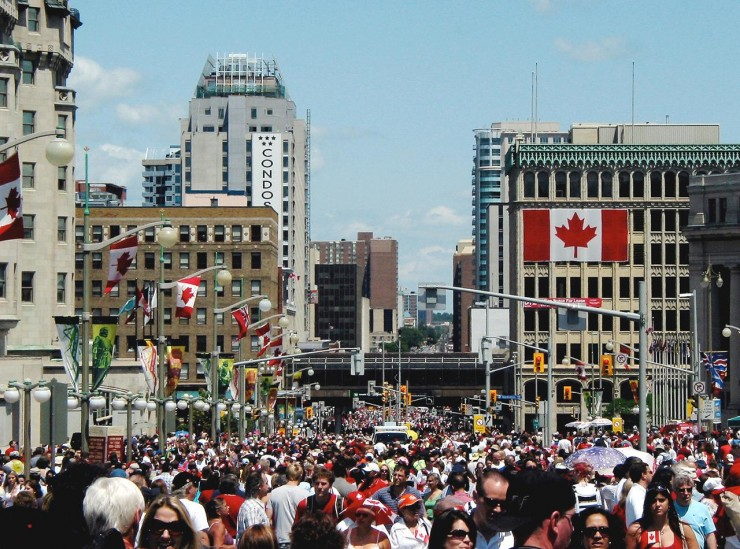 crowd of Canada Day revelers