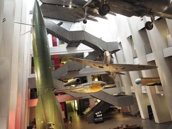 atrium of large war artifacts