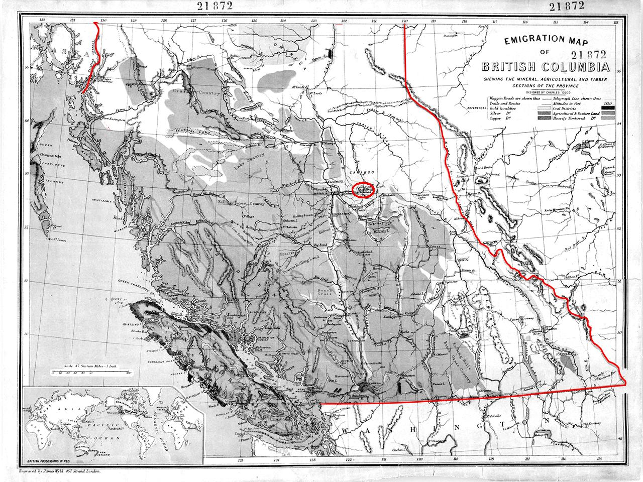 map of BC showing Barkerville