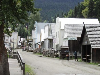 street of 19th century wooden buildings