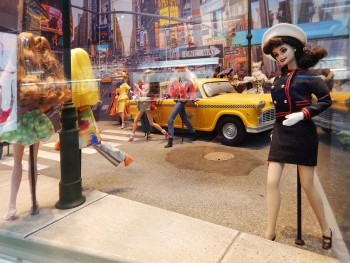 street scene diorama with dolls