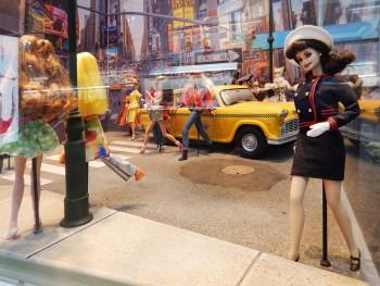 street scene diorama with dolls