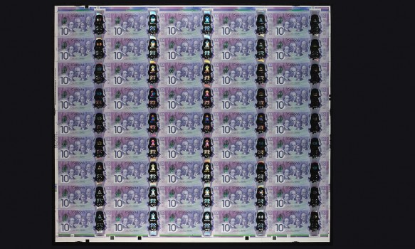 printed sheet of Canada 150 bank notes