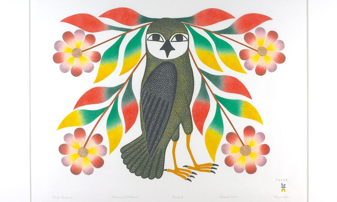 Inuit print of an owl and flowers