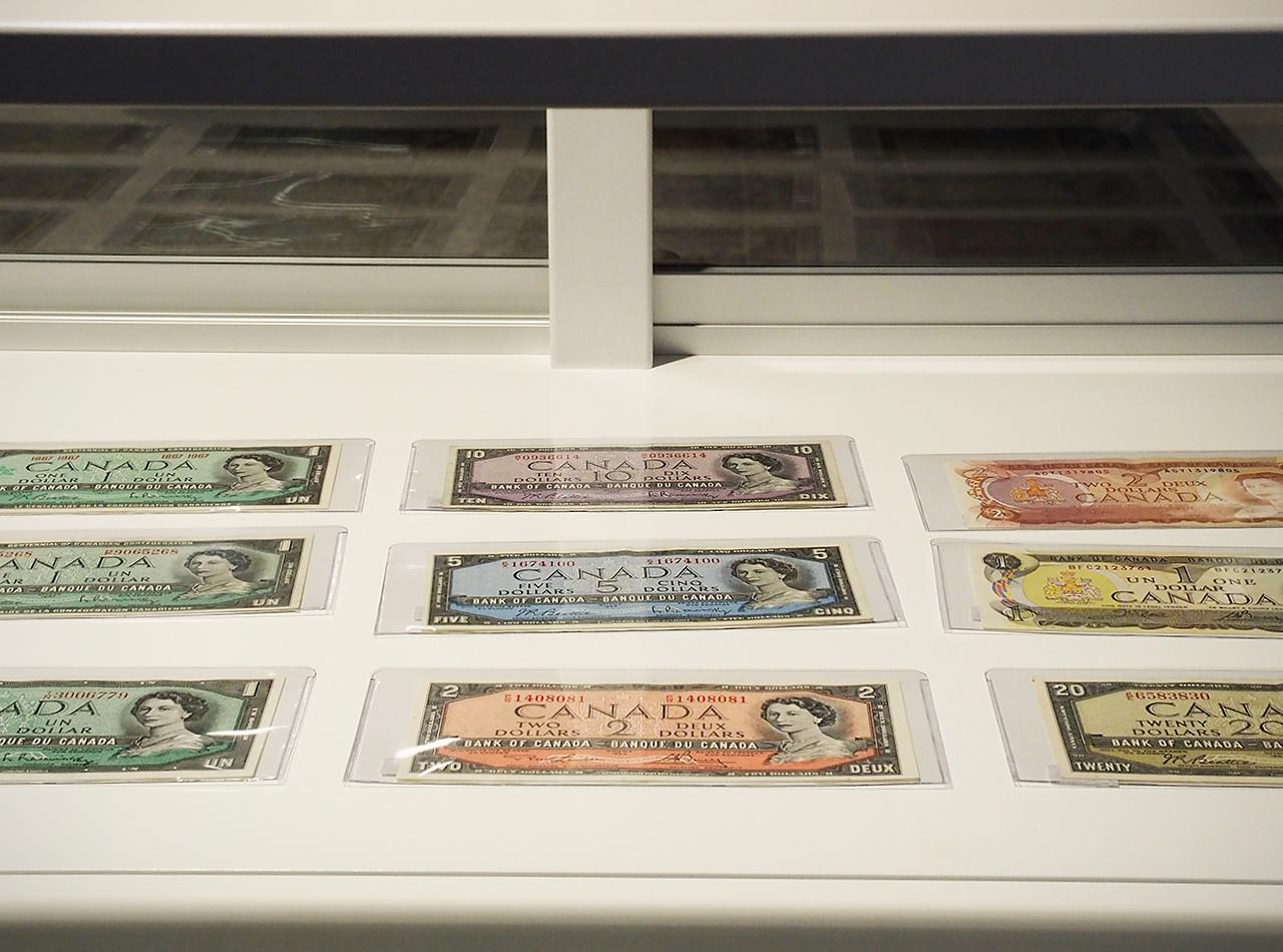 old bank notes in a display case