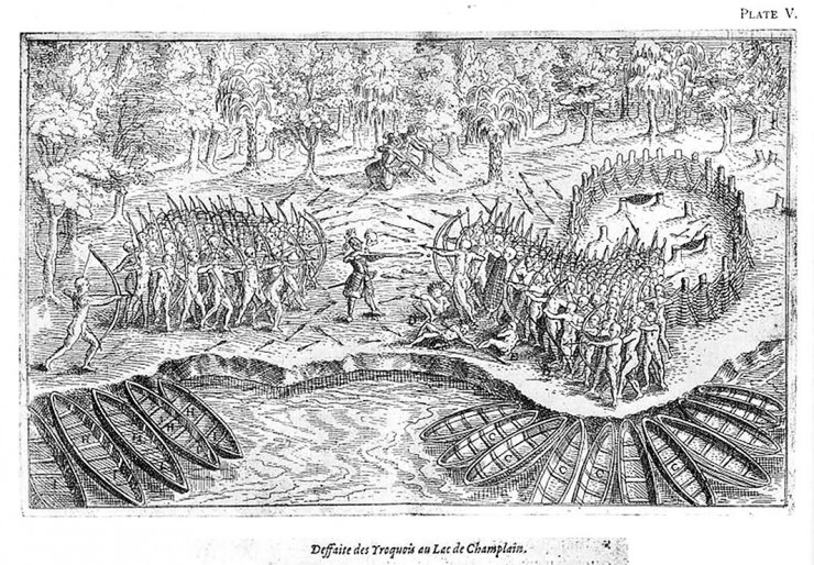 drawing of a battle between Aboriginals