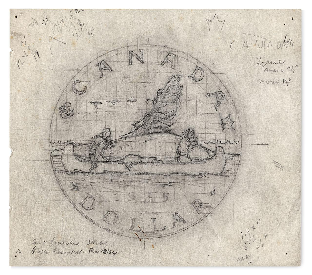 design plan drawing of a coin