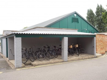 row of 1940s-era bikes in a shed