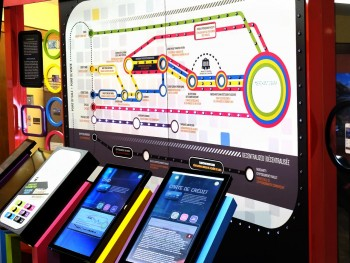 subway style map with monitors