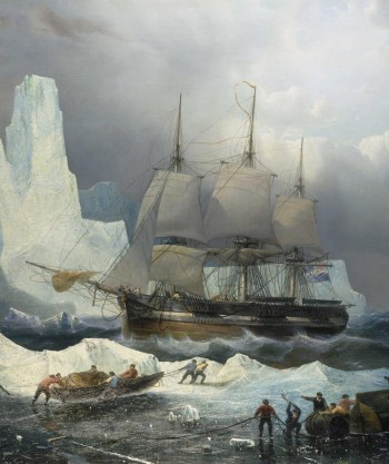 painting of ship in the Arctic