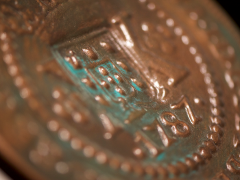 close up of model coin