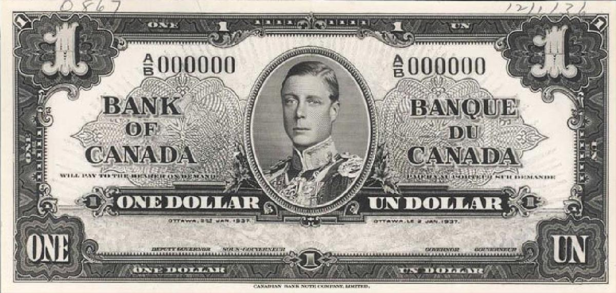 $1 bill with Edward VIII
