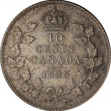 Canadian 1936 dot dime