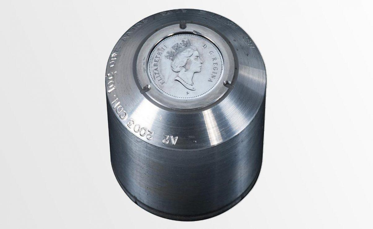 coin die: metal cylinder