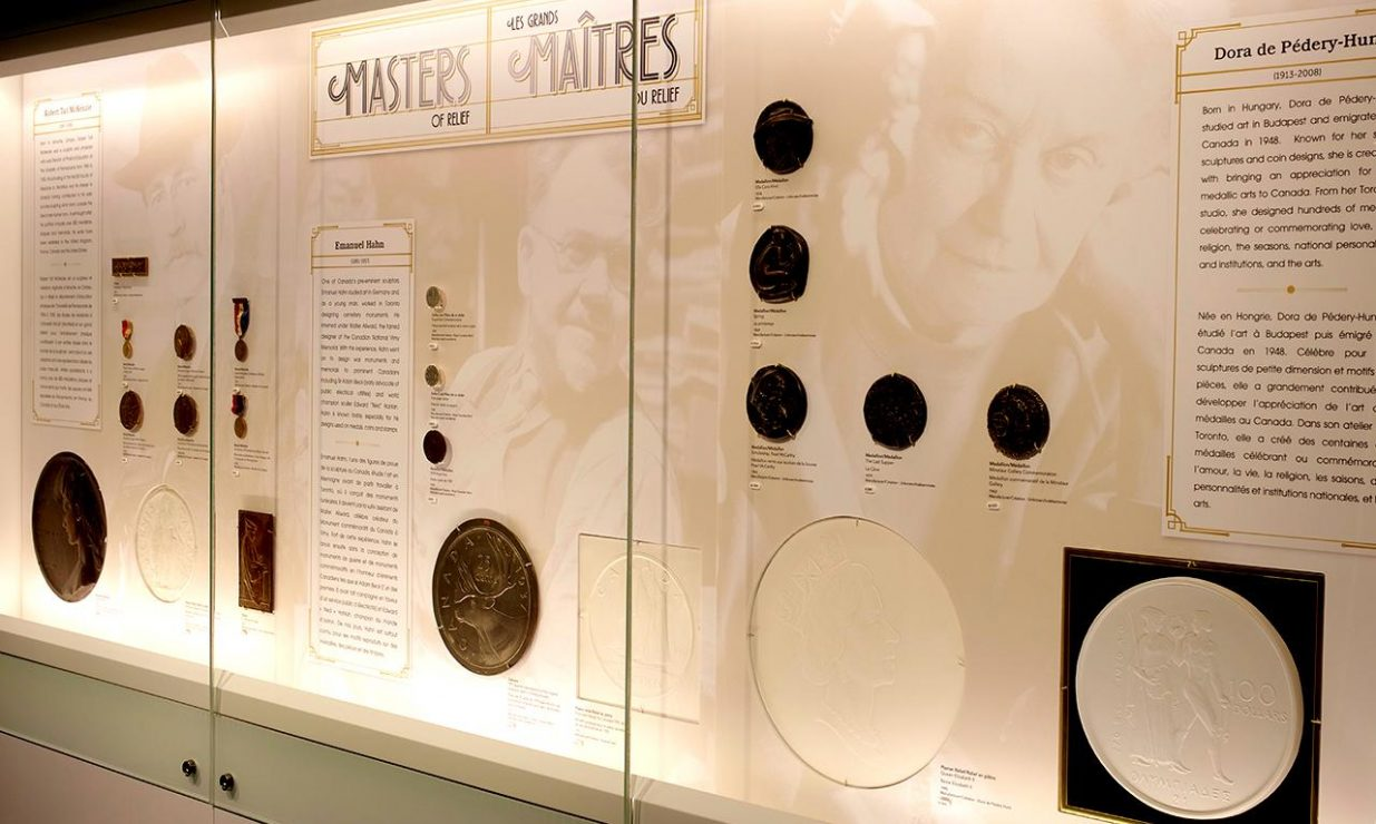 exhibit case of medals