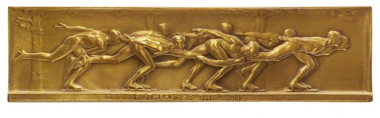 bas relief of speed skaters