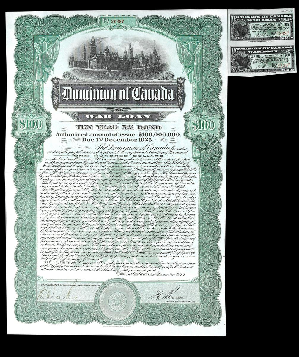 First World War public war bond certificate of $100, 1915