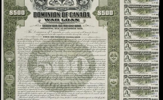 First World War public war bond certificate of $500, 1916