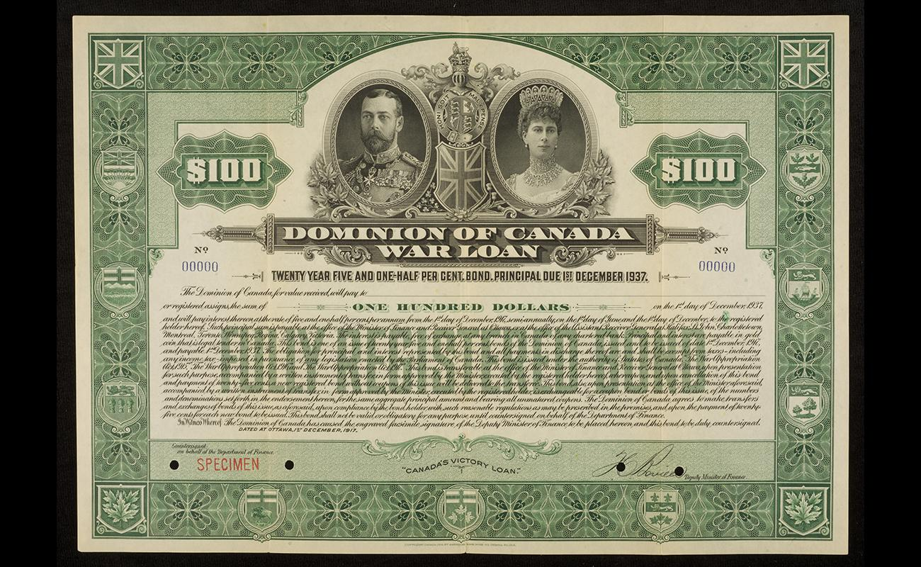 A First World War public war bond certificate of $100, 1917
