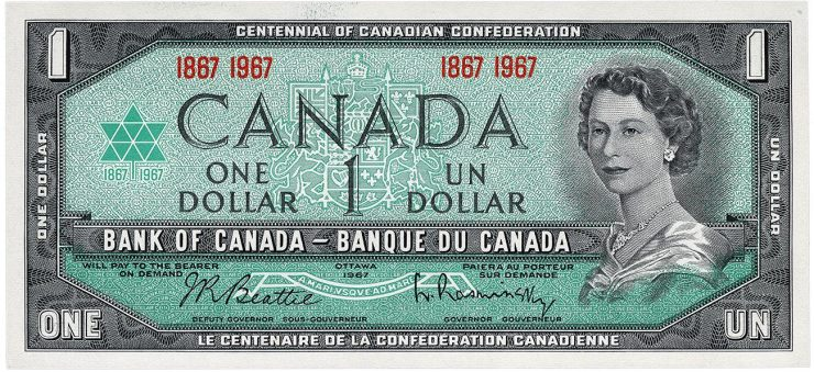 Commemorative centennial $1 bank note from the 1954 series