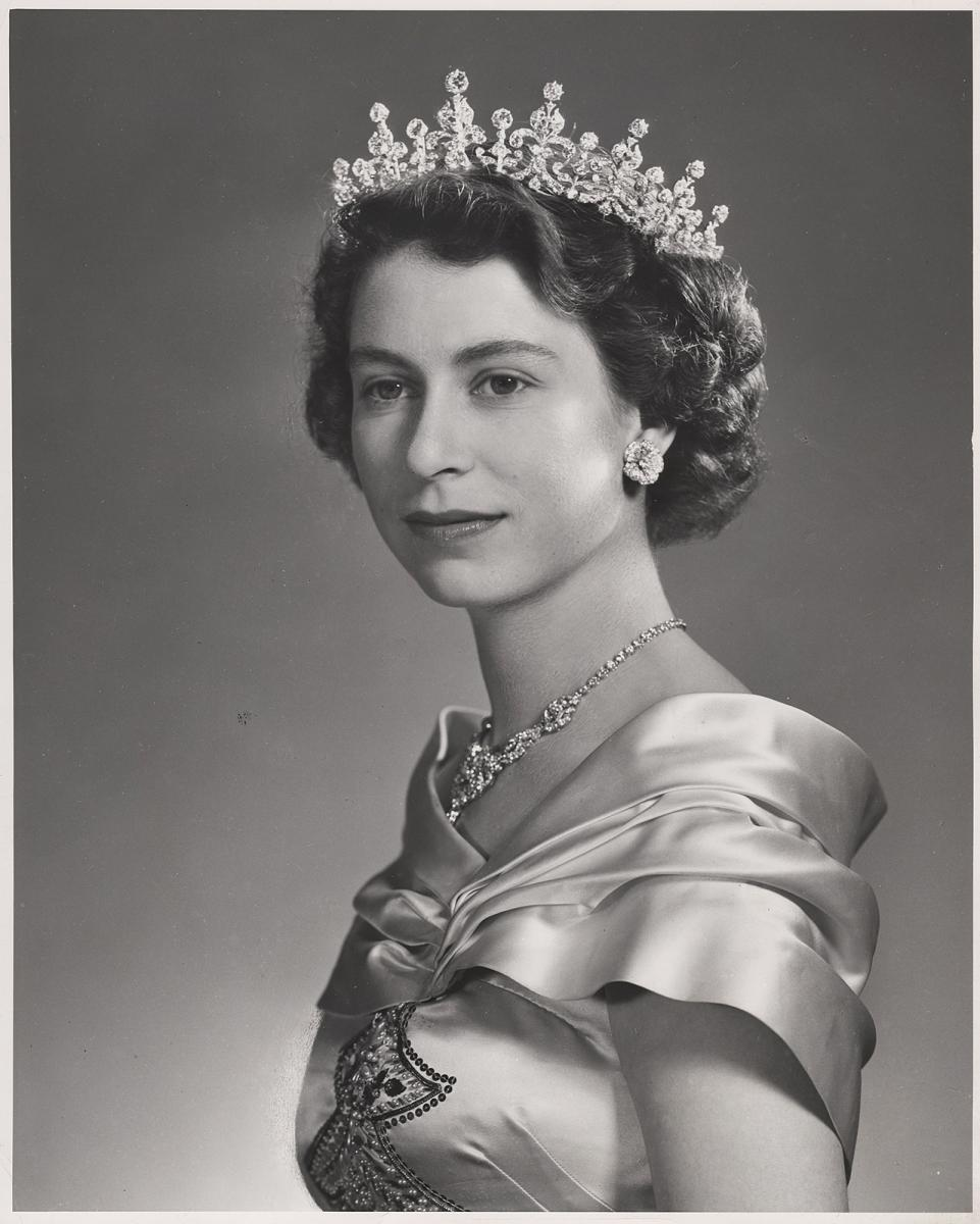 black and white portrait of Elizabeth in a tiara, 1951