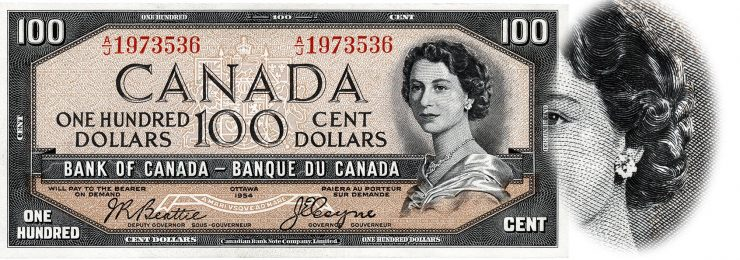 a Canadian $100 bank note from 1955 with detail showing the Devil's face in the Queen's hair