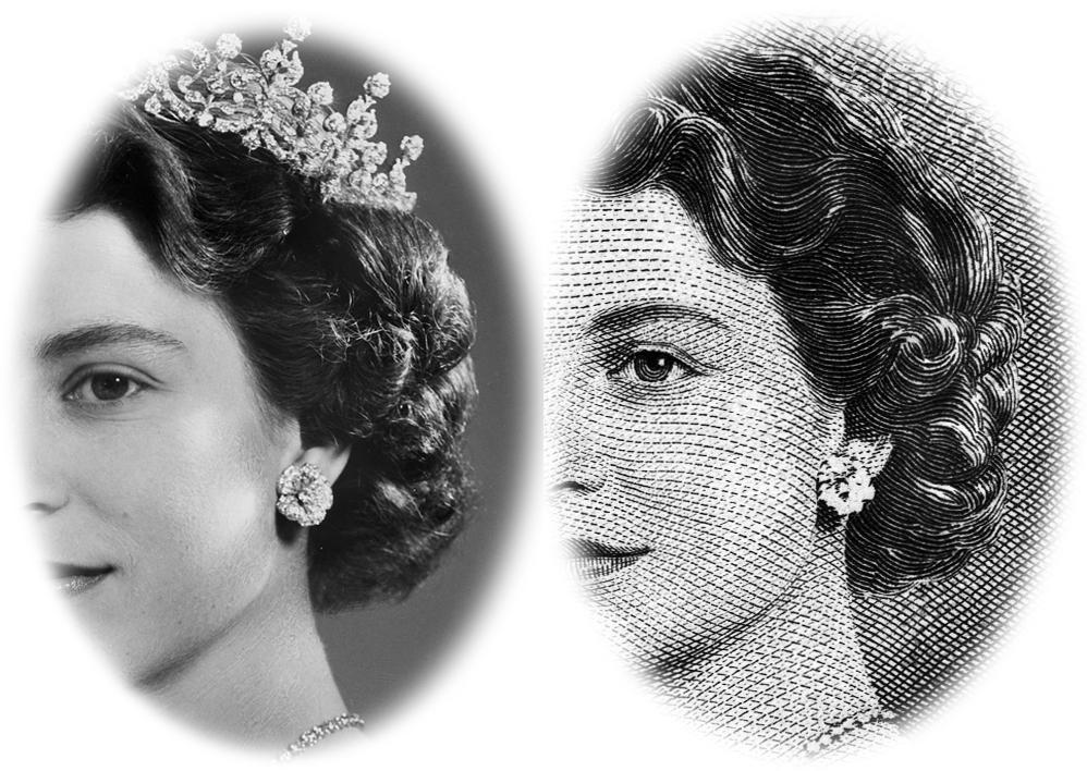 an engraving of the Queen and the photograph it was reproduced from