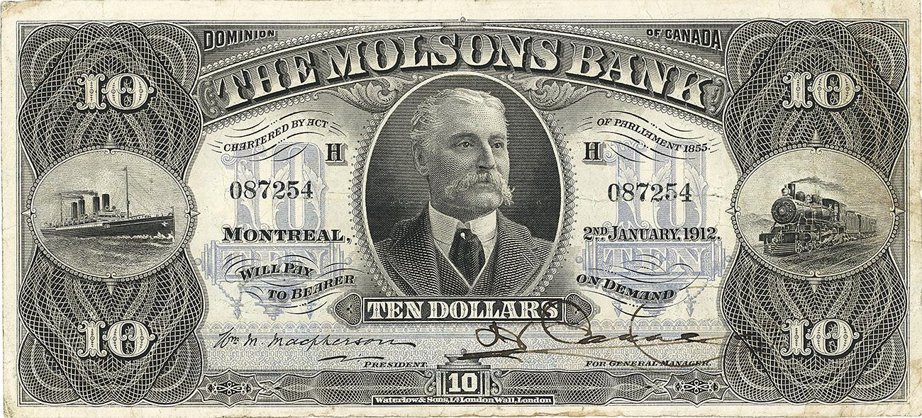 Molson Bank $10 bank note