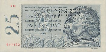 Czech bank note with warrior Jan Žižka in eye patch